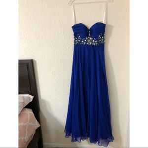 Cinderella gown royal blue dress with diamond